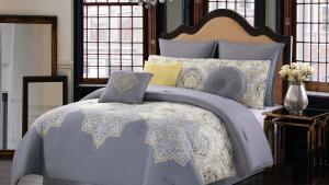 Style 212 Melania Grey And Yellow Queen Comforter Set