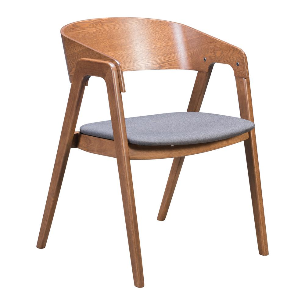 modern gray dining chairs retro leather uk zuo alden walnut and dark arm chair set of 2 100977 the home depot