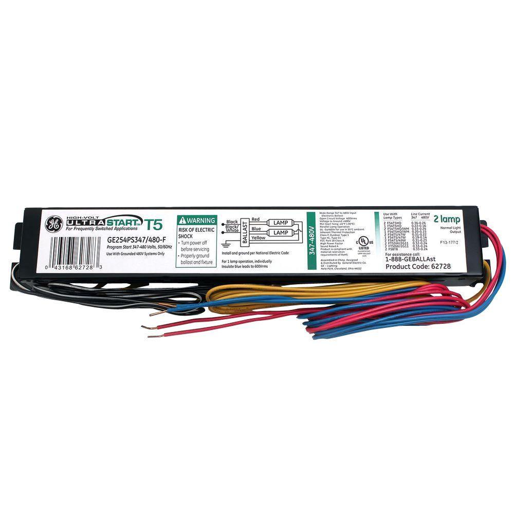 medium resolution of ge 347 to 480 volt ultrastart electronic program rapid start ballast for t5 fixture