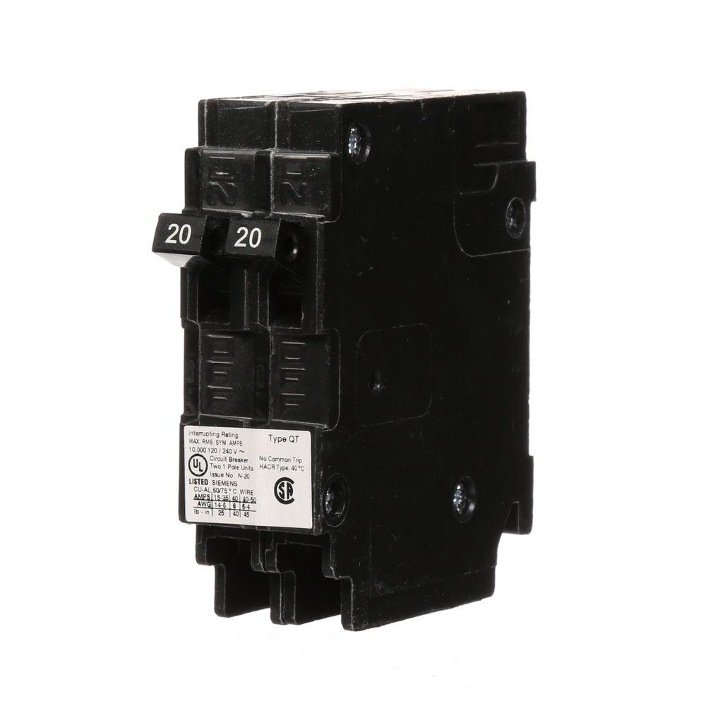 medium resolution of  2 20 amp tandem single pole type qt ncl circuit breaker