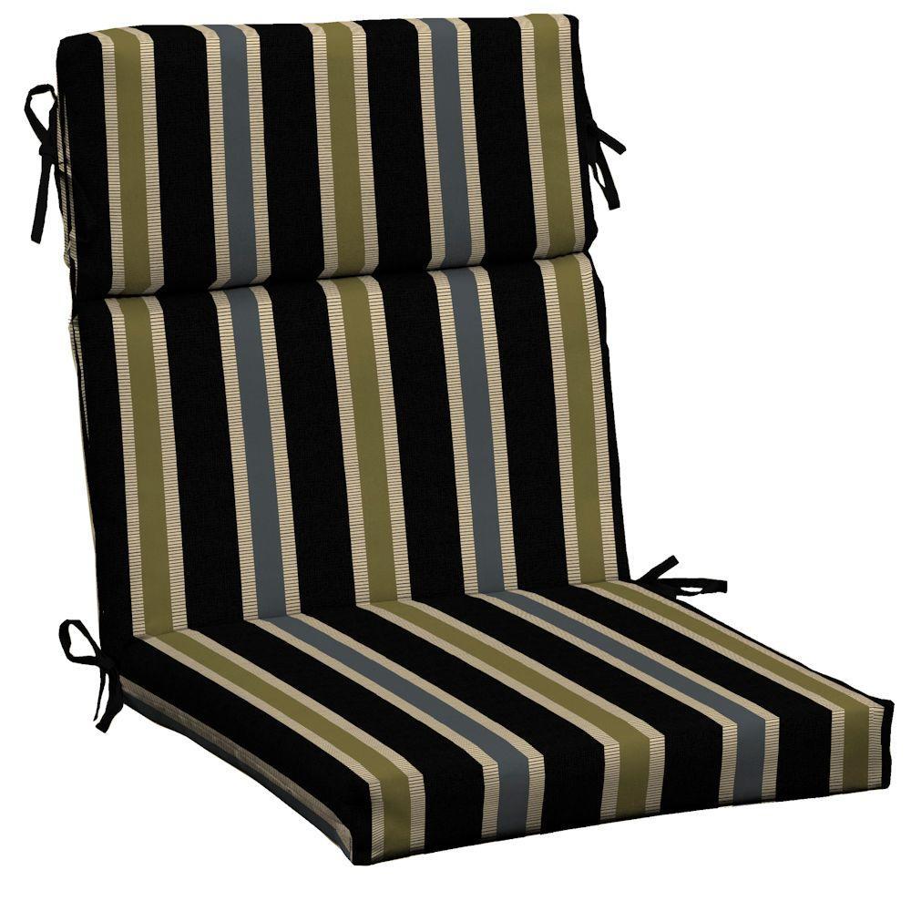 patio high back chair cushions humanscale liberty review hampton bay black ribbon stripe outdoor dining cushion