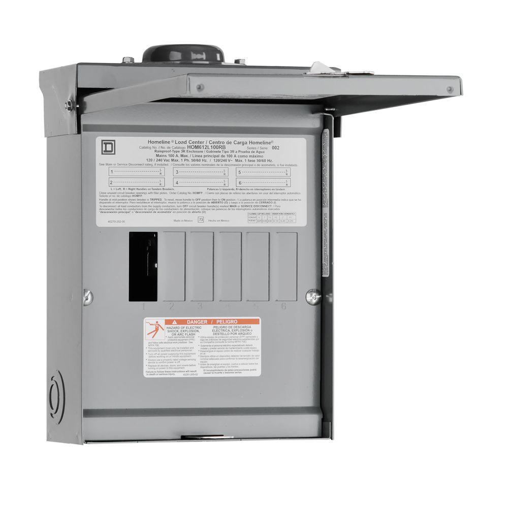 medium resolution of square d homeline 100 amp 6 space 12 circuit outdoor main lug load center