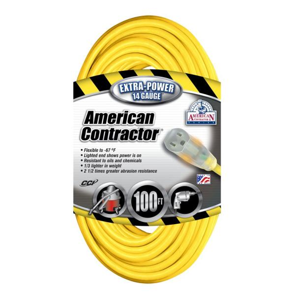 Southwire 100 Ft. 14 3 Sjeo Outdoor Medium-duty T-prene Extension Cord With Power Light Plug