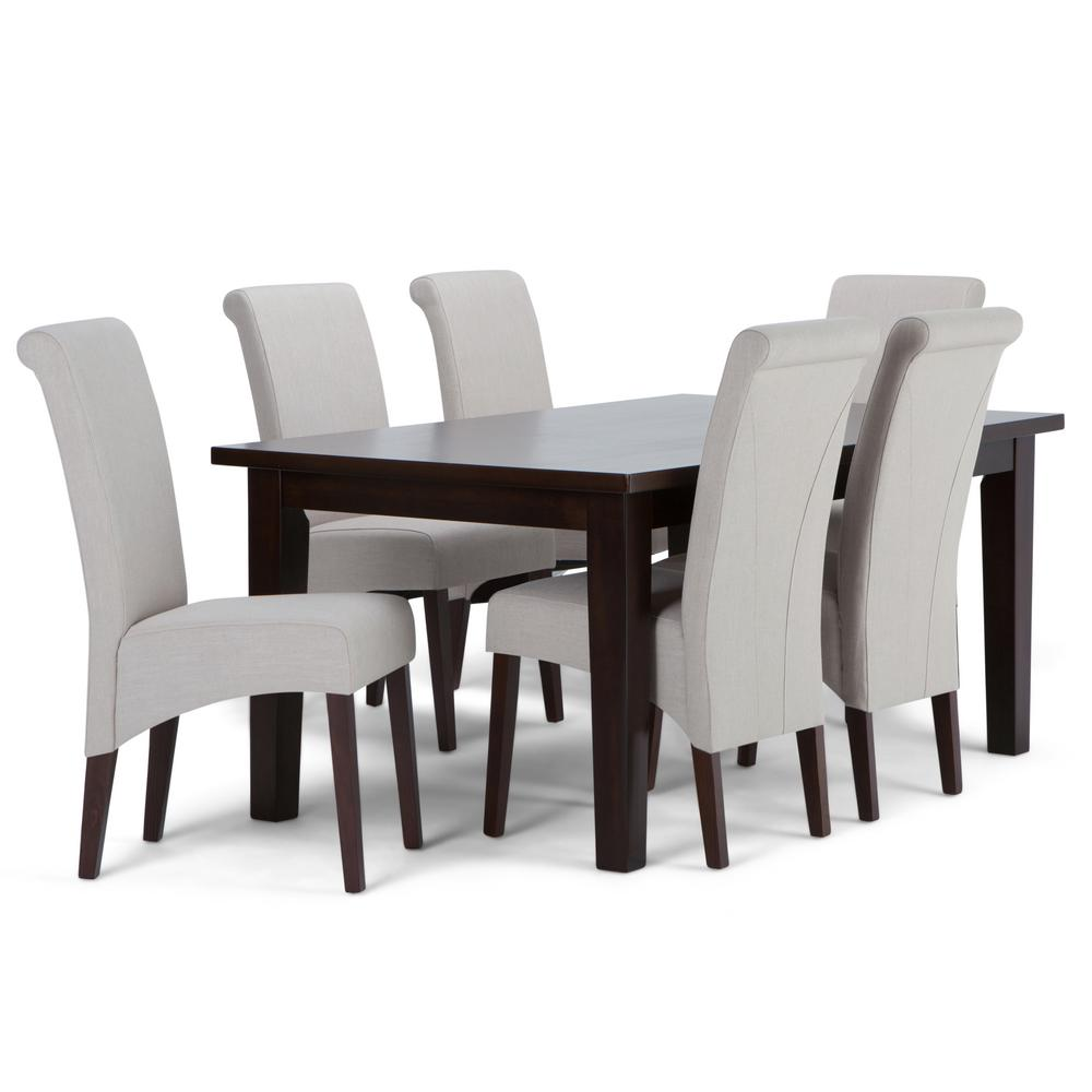 Dining Chair Set Of 6 Avalon 7 Piece Dining Set With 6 Upholstered Dining Chairs In Natural Linen Look Fabric And 66 In Wide Table