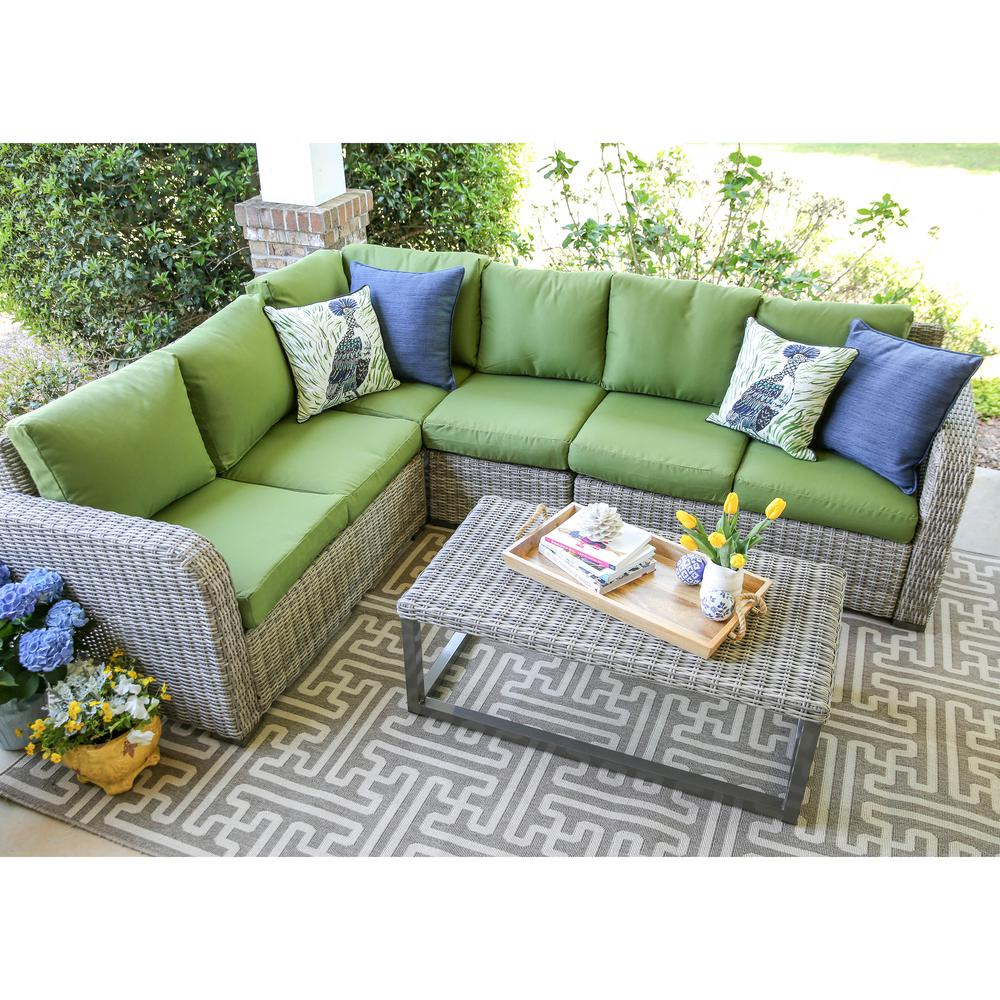 green cushions living room valances for window leisure made forsyth 5 piece wicker outdoor sectional set with