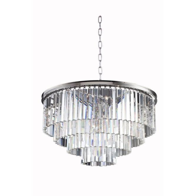 Elegant Lighting Sydney 17 Light Polished Nickel Chandelier With Clear Crystal 1201d32pn Rc The Home Depot