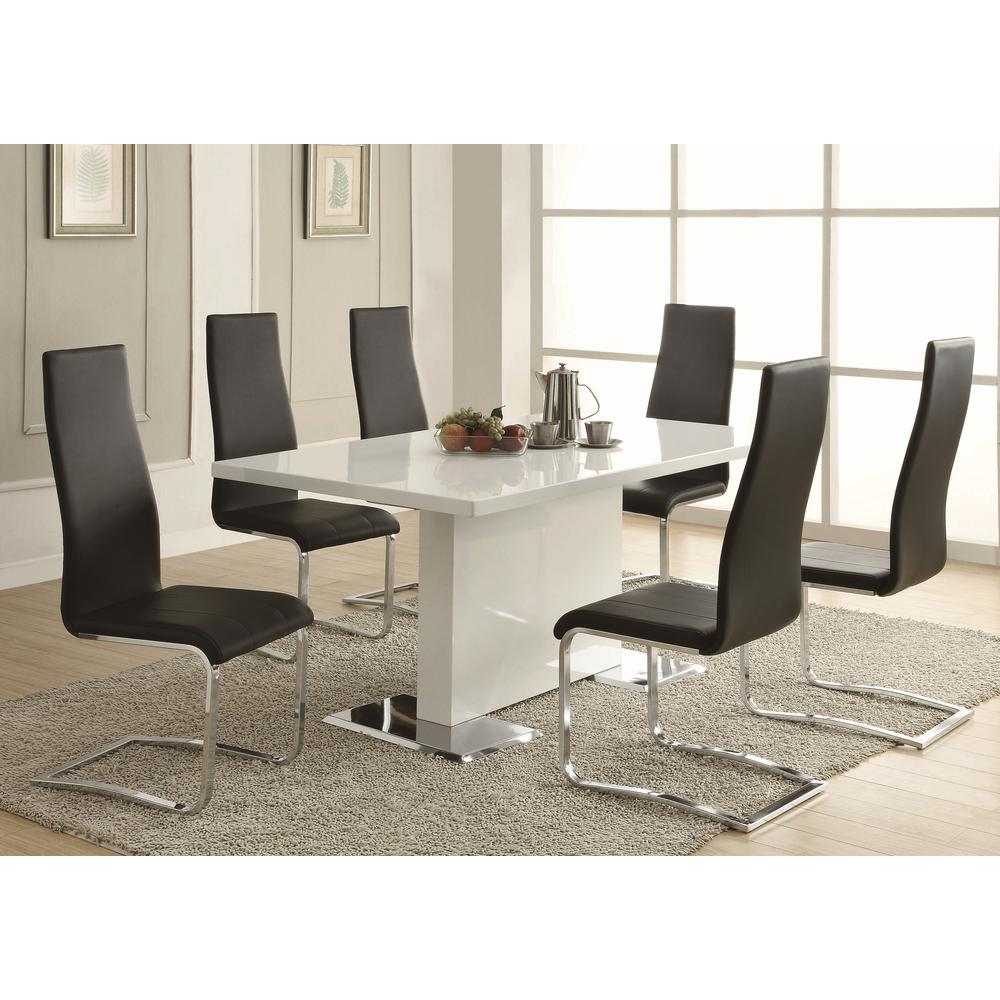 black dining room chairs with chrome legs neutral posture chair review coaster everyday and side set of 4 100515blk the home depot