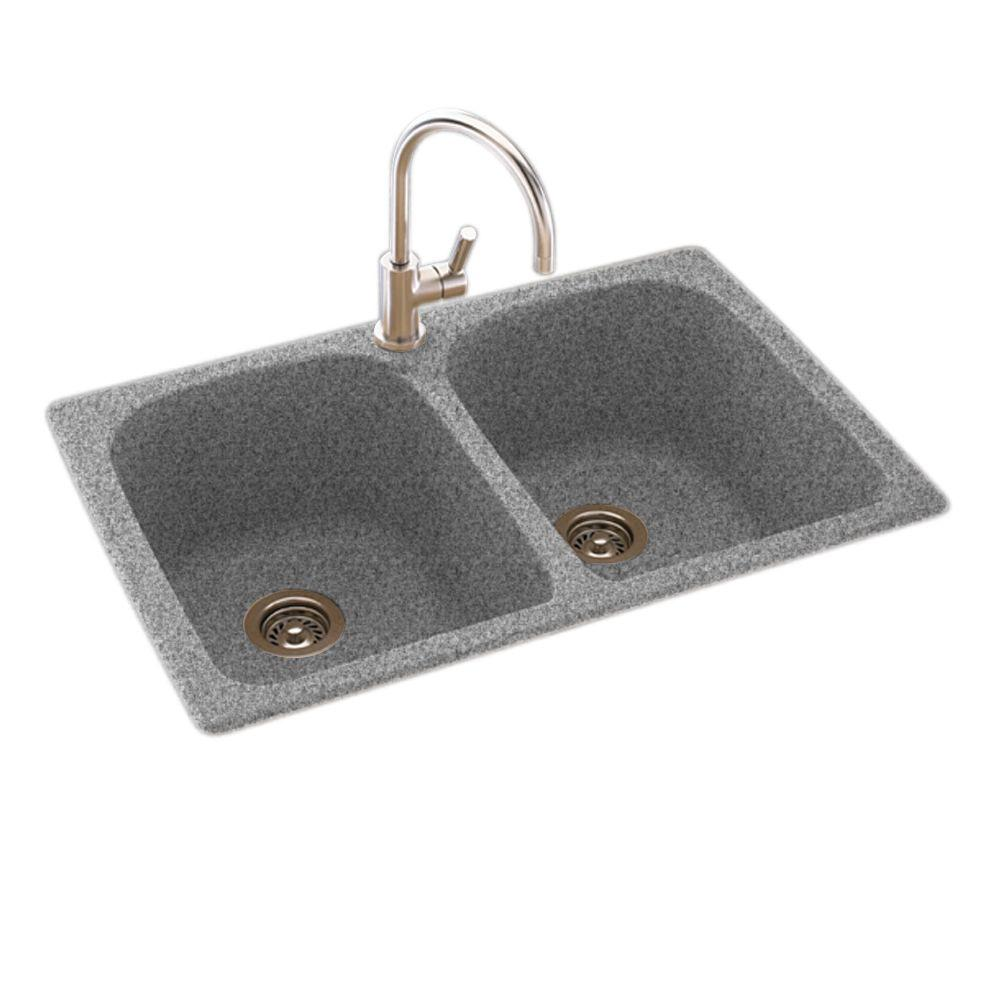 swanstone kitchen sink tables for small kitchens swan dual mount composite 33 in. 1-hole double bowl ...