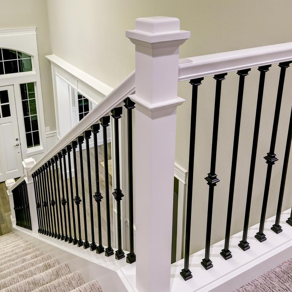 Stair Parts 1 2 In Matte Black Metal Angled Baluster Shoe I350B | Shoe Rail For Iron Balusters | Modern | Oak | Slides | Cast Iron | Remodel