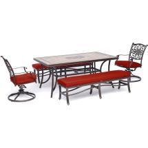 Hanover Monaco 5-piece Aluminum Outdoor Dining Set With