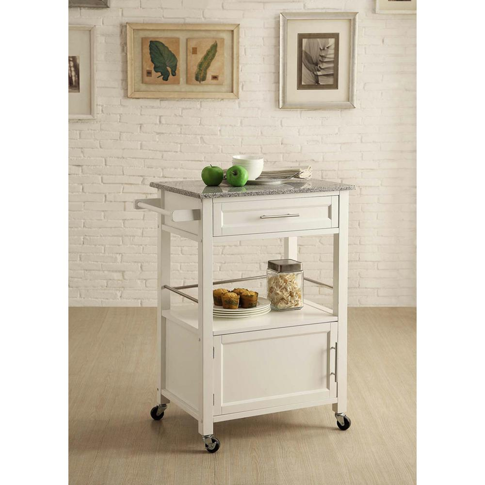 kitchen cart with drawers chairs casters linon home decor mitchell white storage