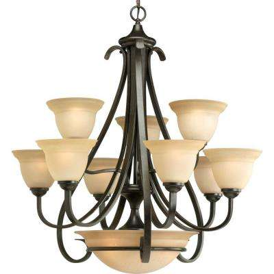 Torino Collection 9 Light Forged Bronze Chandelier With Shade Tea Stained Glass