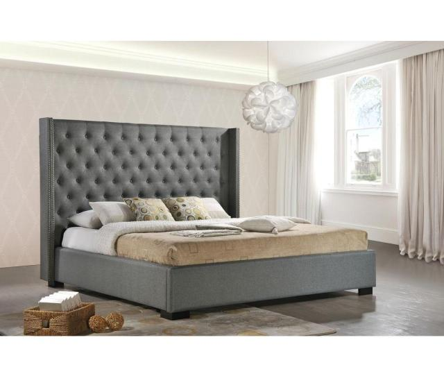 Luxeo Newport Gray King Upholstered Bed