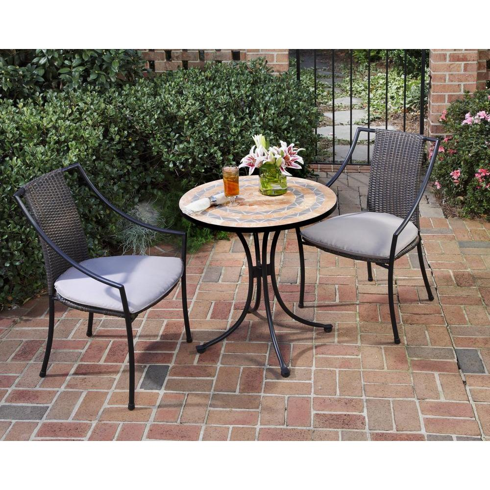 Metal Bistro Table And Chairs Home Styles Terra Cotta 3 Piece Tile Top Patio Bistro Set With Taupe Cushions