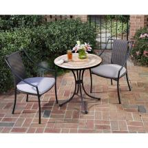 Home Styles Terra Cotta 3-piece Tile Top Patio Bistro Set
