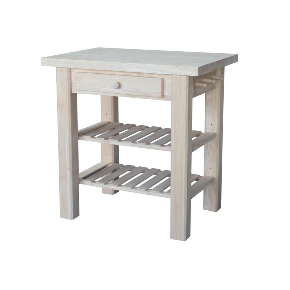 unfinished kitchen cart different types of countertops international concepts utility table with drawer