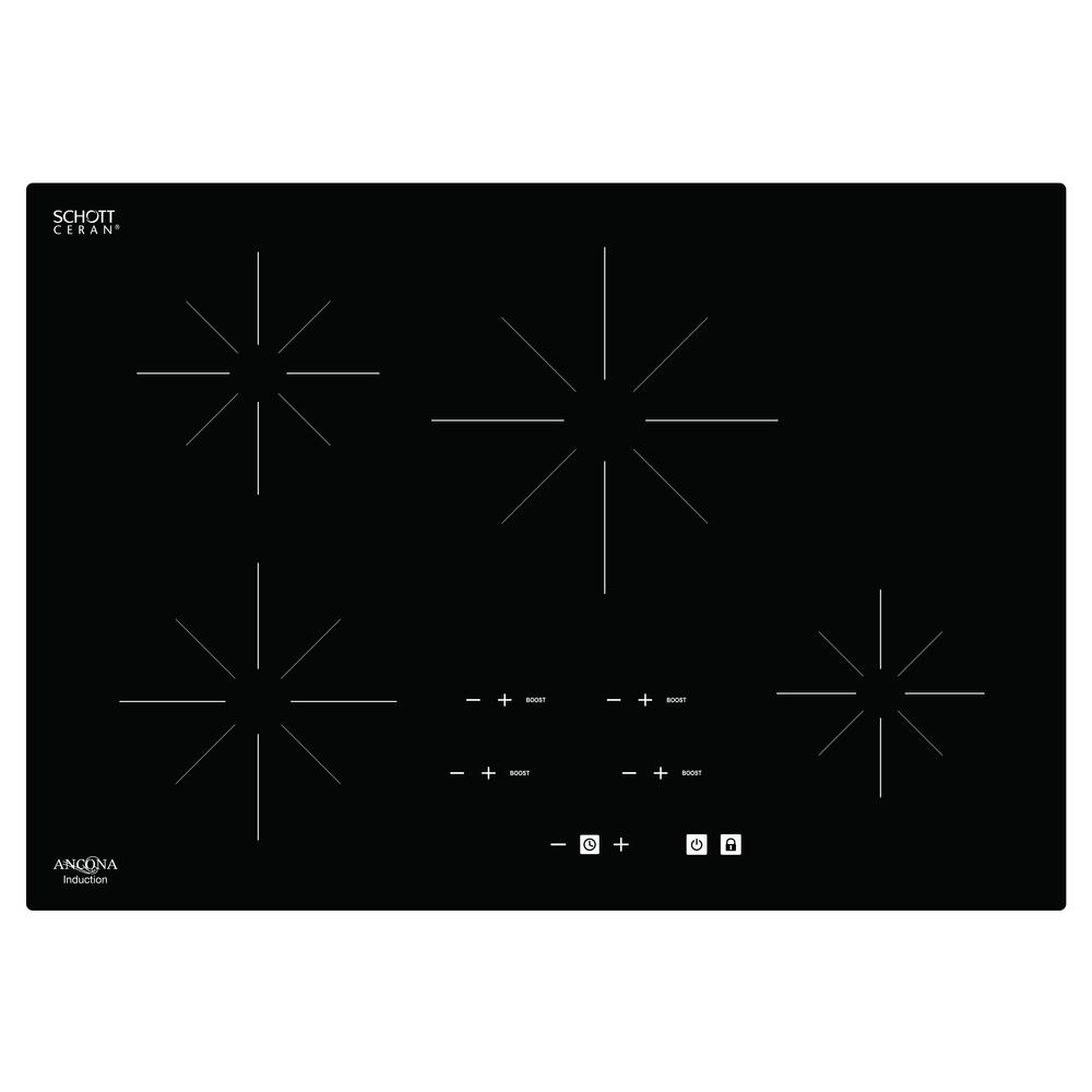 hight resolution of glass ceramic induction cooktop in black with 4 elements