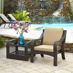 2 Accent Chairs And Table Set Nj Chair Rentals Home Styles Lanai Breeze Deep Brown Piece Woven Patio End With Yellow Cushion