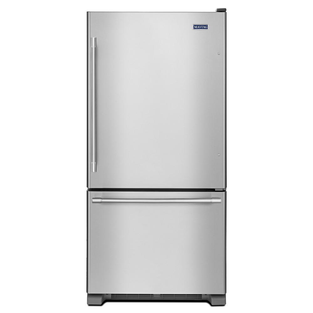 Maytag 33 in W 22 cu ft Bottom Freezer Refrigerator in