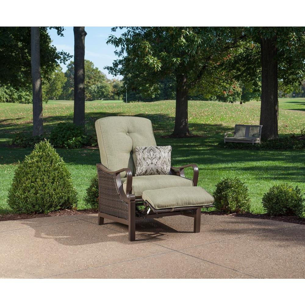 recliner patio chair armless upholstered hanover ventura reclining wicker outdoor lounge with vintage meadow cushion