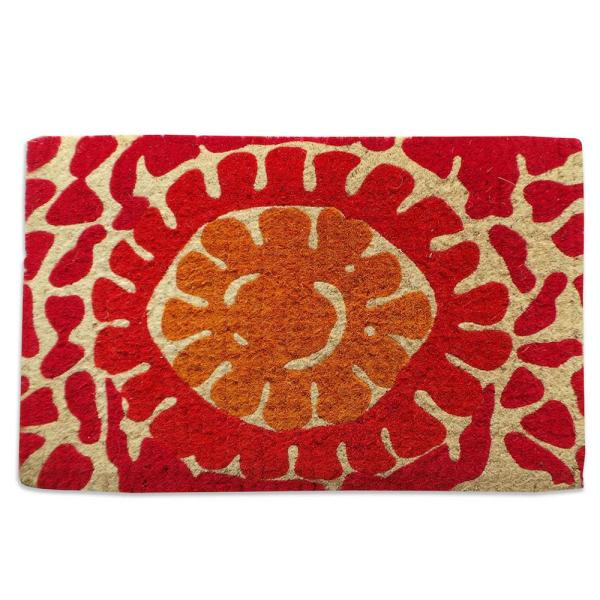 A1hc Impression Handwoven Red Flower Extra Thick 18
