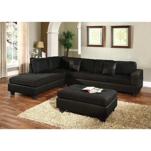 Black Microfiber Sectional Sofa Furniture Chaise Couch - Thesofa
