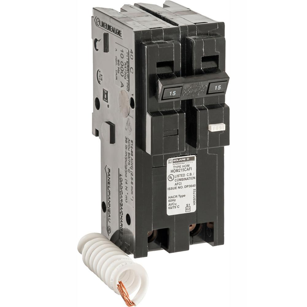 medium resolution of square d homeline 15 amp 2 pole combination arc fault circuit square d homeline 15 amp