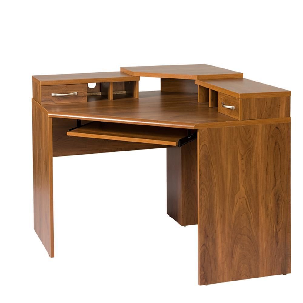 Corner Desk with Monitor Platform Keyboard Shelf and 2