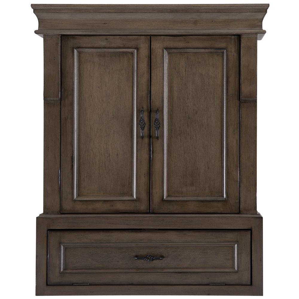 Wall Cabinets For Bathrooms Home Decorators Collection Naples 26 3 4 In W Bathroom Storage Wall Cabinet In Distressed Grey