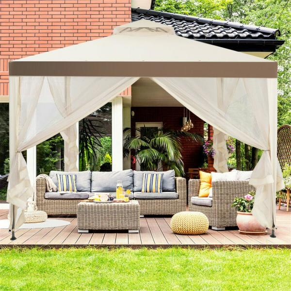 Casainc 10 Ft X 10 Ft Beige Canopy Gazebo Tent Shelter Garden Lawn Patio With Mosquito Netting Wfop3907be The Home Depot