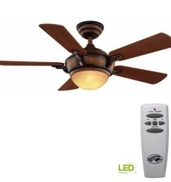 hampton bay midili 44 in led indoor gilded espresso ceiling fan with light kit and [ 1000 x 1000 Pixel ]