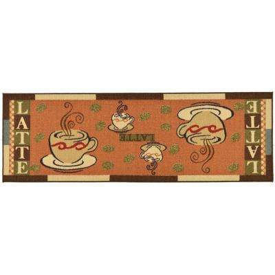 kitchen runner buy old cabinets light non slip pad mats the home depot sara s collection coffee cups design dark orange 1 ft 8 in x 4