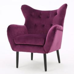 Velvet Tufted Chair Crazy Bean Bag Chairs Noble House Seigfried Fuchsia New Arm 298851 The Home Depot