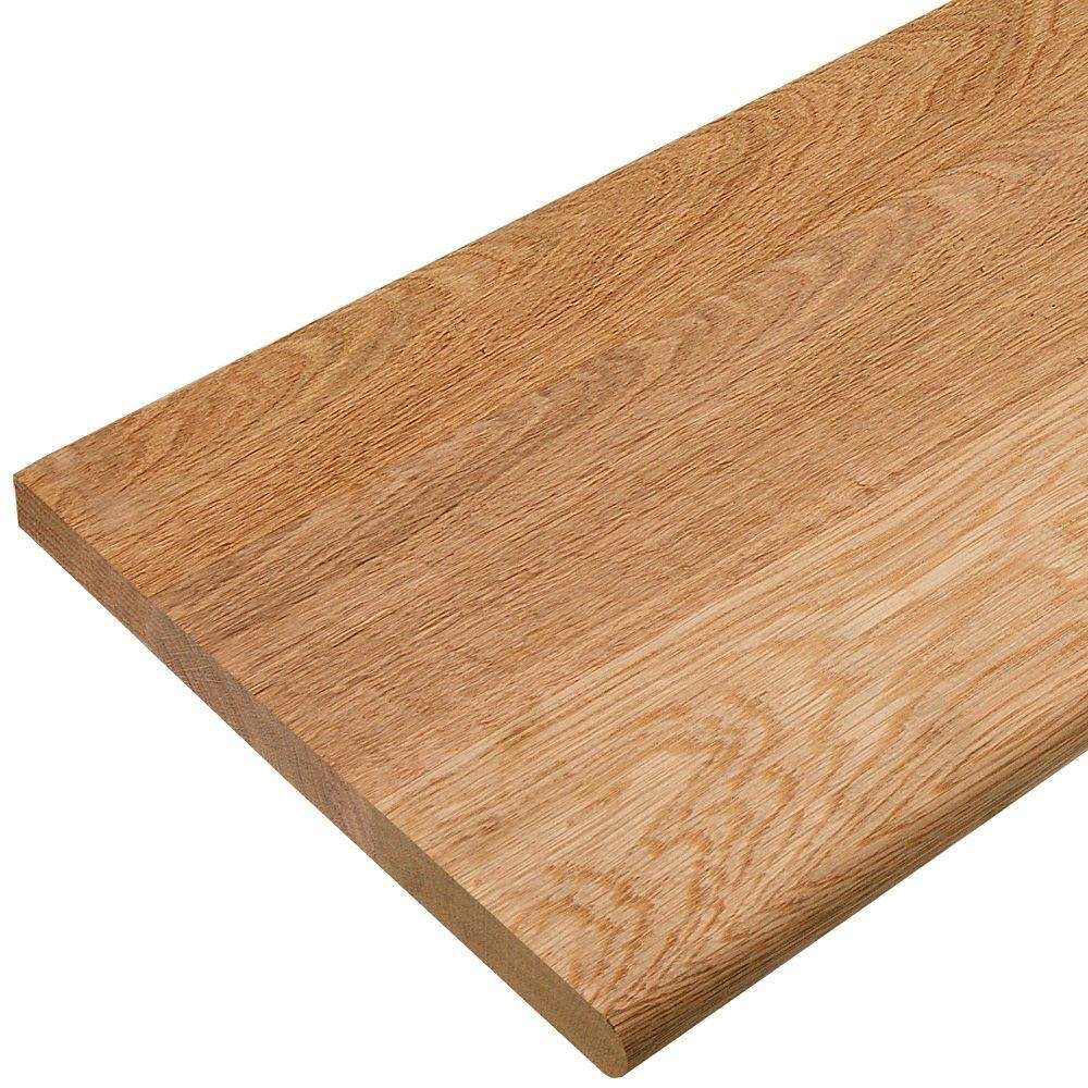 11 1 2 X 48 In Red Oak Solid Edge Glued Tread 8430R 048   Home Depot Hardwood Stair Treads
