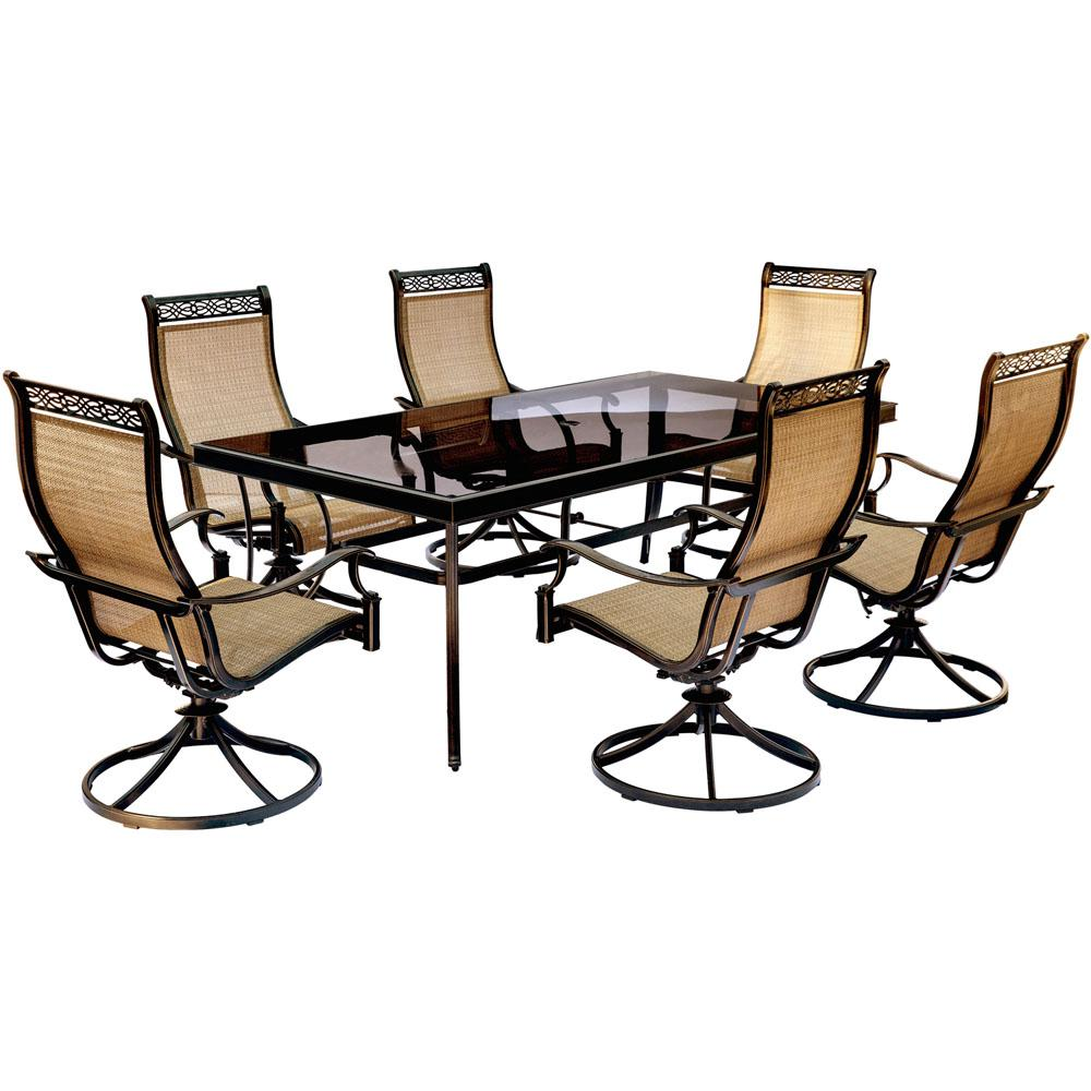 Outdoor Dining Sets 7 Piece Glass Top