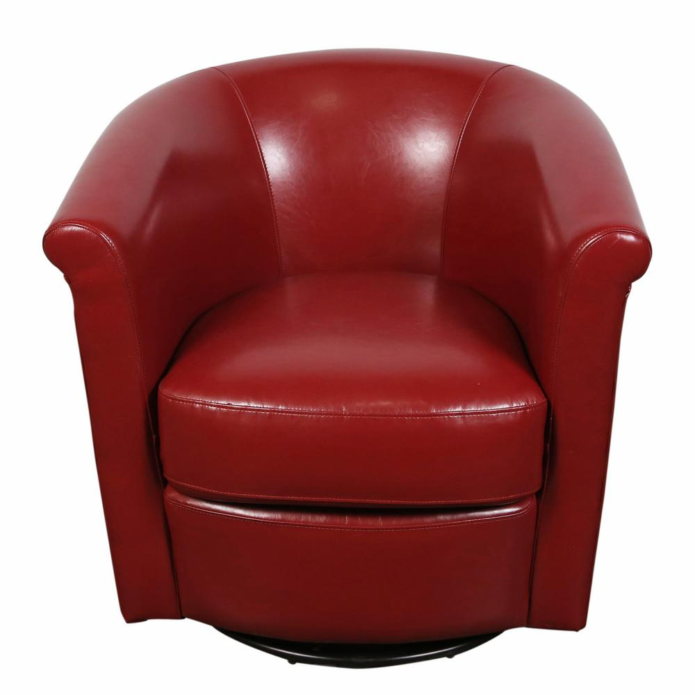 Red Leather Swivel Chair Marvel Contemporary Leather Look Swivel Red Accent Chair