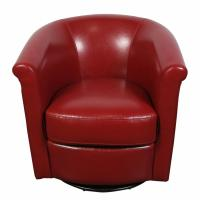 Marvel Contemporary Leather-Look Swivel Red Accent Chair ...