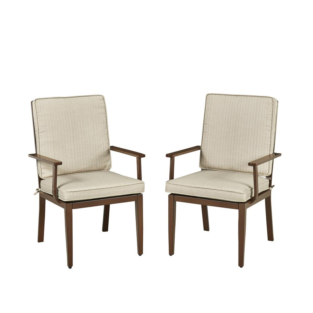key west chairs ergonomic kneeling chair benefits home styles chocolate brown stationary extruded aluminum outdoor dining with beige cushions pack of 2