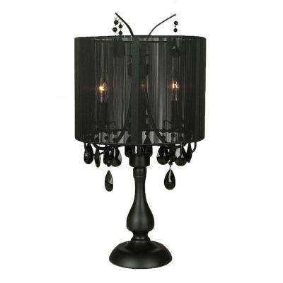 Black Table Lamp With Crystal Accents