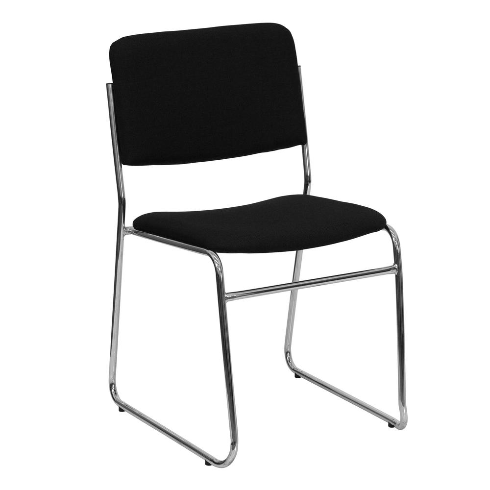 chair photo frame hd beach with shade flash furniture black fabric chrome stack cga xu 2681 bl