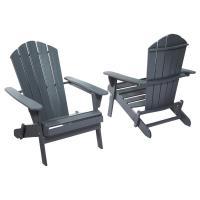 Hampton Bay Graphite Folding Outdoor Adirondack Chair (2 ...
