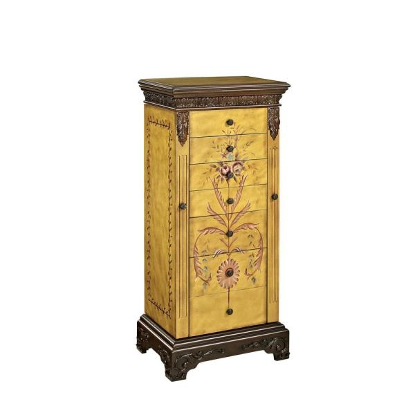 Powell Masterpiece Antique Parchment Hand Painted Jewelry Armoire-582-314 - Home Depot