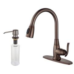 Kraus Kitchen Faucets Hood Single Handle Stainless Steel High Arc Pull Down Sprayer Faucet With Soap Dispenser In Oil Rubbed Bronze