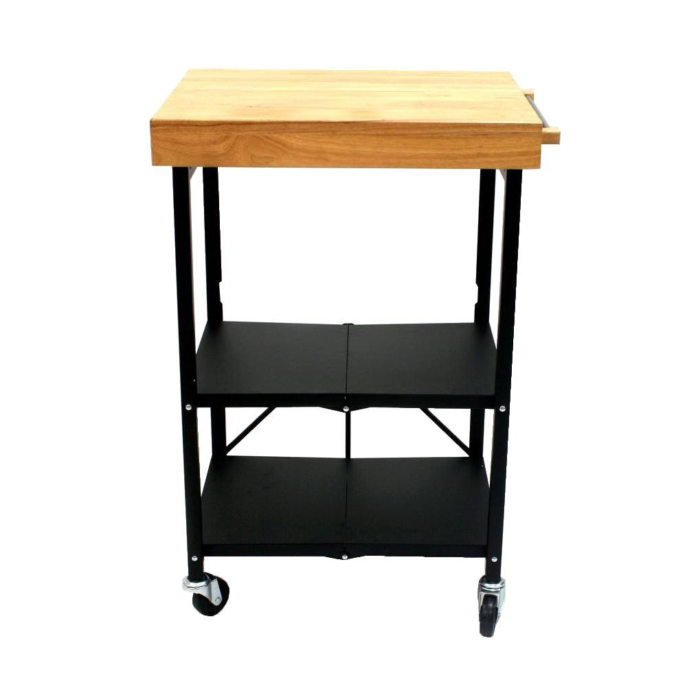 Origami 26 In W Foldable Kitchen Cart In Black RBT 03 The Home Depot
