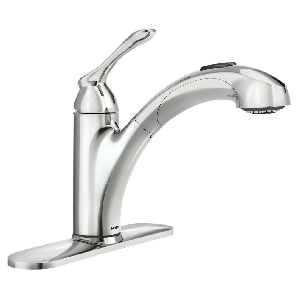moen kitchen sink faucets cabinets naples banbury single handle pull out sprayer faucet with power clean in chrome