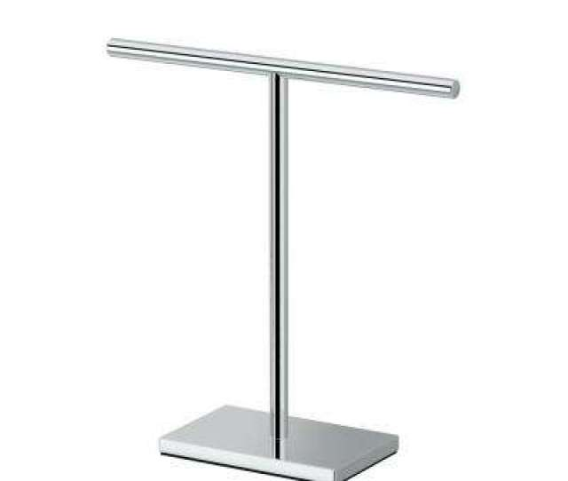 Modern Rectangle Base Countertop   In Hand Towel Bar Holder In Chrome