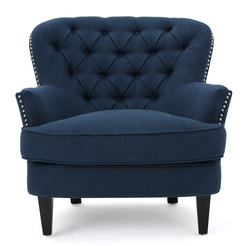tafton club chair ball for office benefits noble house dark blue fabric tufted 299873 the