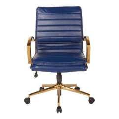 Blue Leather Office Chair Spacesaver High Swivel Faux Chairs Home Furniture Mid Back With Gold In Navy
