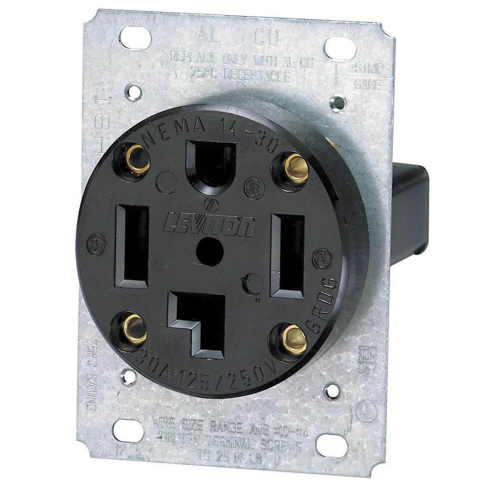 hight resolution of leviton 30 amp industrial flush mount shallow single outlet black