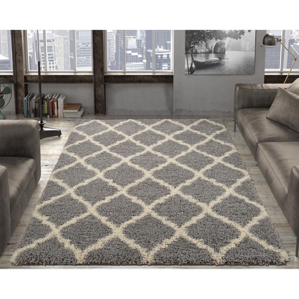grey rug living room paint ideas ottomanson ultimate shaggy contemporary moroccan trellis design 5 ft x 7 area